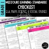 Missouri Learning Standards Checklist for Grade 1 (ELA, Math, Science & S.S.)