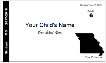 Missouri (MO) Homeschool ID Cards for Teachers and Students
