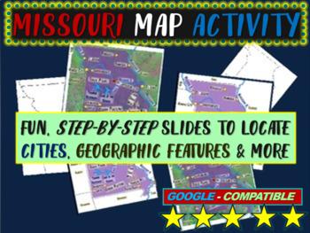 Missouri Map Activity- fun, engaging, follow-along 16-slide PPT