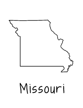 Missouri Map Coloring Page Craft - Lots of Room for Note-Taking & Creativity