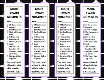 Missouri Mark Twain Nominee Book Marks