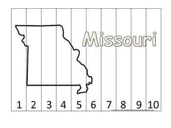 Missouri Number Sequence Puzzle.  Learn the States preschool printable game.