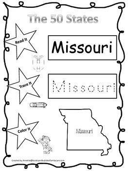 Missouri Read it, Trace it, Color it Learn the States preschool worksheeet.