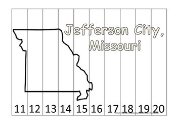 Missouri State Capitol Number Sequence Puzzle 11-20.  Geography and Numbers.