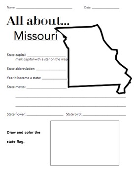 Missouri State Facts Worksheet: Elementary Version