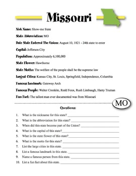 Missouri State Information & Worksheet