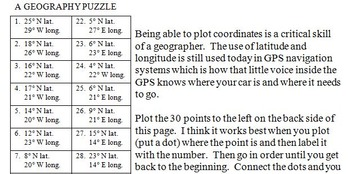 Missouri State Latitude and Longitude Coordinates Puzzle - 30 Points to Plot