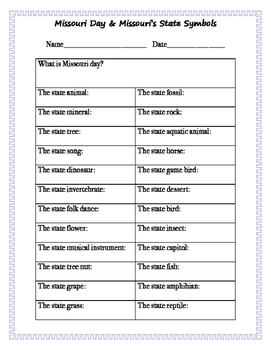 Missouri State Symbols worksheet