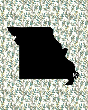 Missouri Vintage State Map or Poster Class Decor, Classroo