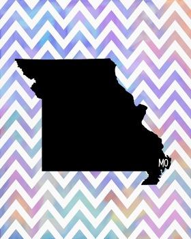 Missouri Chevron State Map Class Decor, Government, Geography