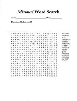 Missouri Word Search