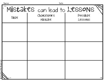 Mistakes Can Lead to Lessons Graphic Organizer