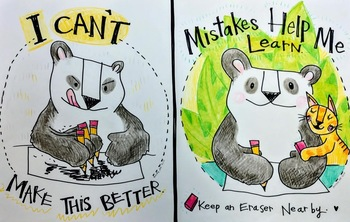 Mistakes Help Me Learn! Growth Mindset Poster: Panda