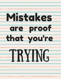 Mistakes are Proof You're Trying Classroom Decor Inspirati