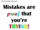 Mistakes are proof that you're trying! bulletin board letters