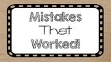 Mistakes that Worked Classroom Posters for Growth Mindset