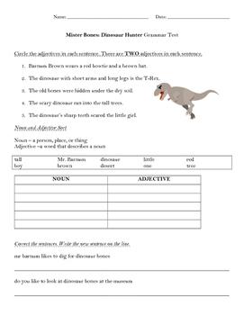 Mister Bones Dinosaur Hunter Grammar Test