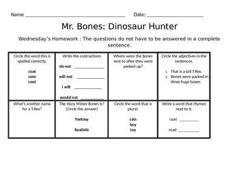 Mister Bones Homework for the week