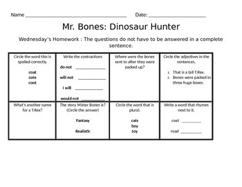 Mister Bones Homework for the week