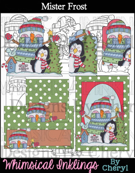 Mister Frost! Snowman Clip and Printables! With Lineart