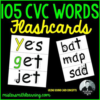 105 CVC Words: Flashcards
