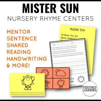 Mister Sun Nursery Rhyme Literacy Tasks