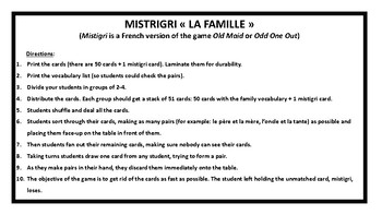 Mistigri, Old Maid, la famille, game in French