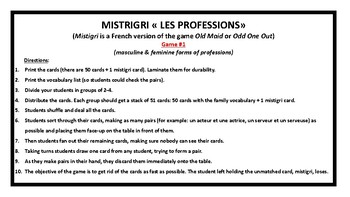 Mistigri, Old Maid, les professions, game in French