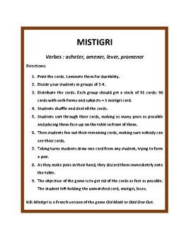 Mistigri, Old Maid, voir, mettre, prendre, comprendre, dormir, game in French