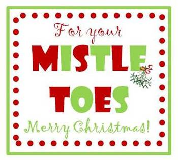 photo regarding For Your Mistletoes Printable identified as MistleTOES reward tags for nail polish