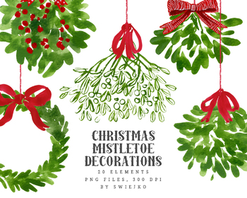 Mistletoe Christmas clipart, holiday decoration, bouquet