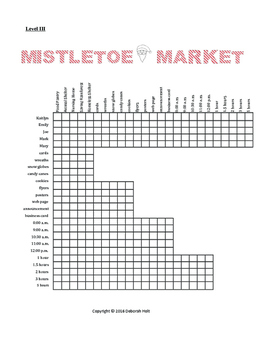 Mistletoe Market Logic Grid Puzzle Level III