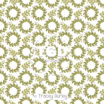Mistletoe Wreath on White digital paper Printable Tracey Gurley Designs