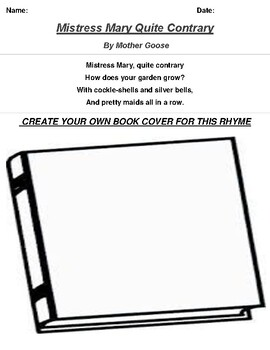 Mistress Mary Quite Contrary by Mother Goose Rhyme Book Cover Worksheet