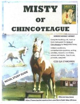 Misty of Chincoteague HORSES Novel Book Study Guide ELA CCSS