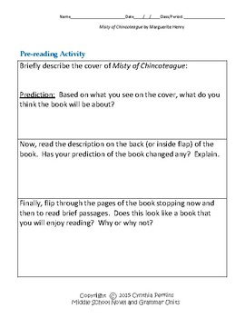 Misty of Chincoteague Complete Literature and Grammar Unit