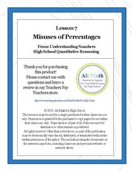 Misuses of Percentages (High-school Quantitative Reasoning)