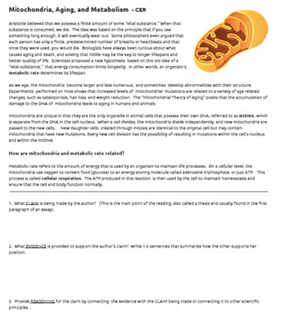 Mitochondria, Aging, and Metabolism - CER  (Answer Key and Teacher's Guide)