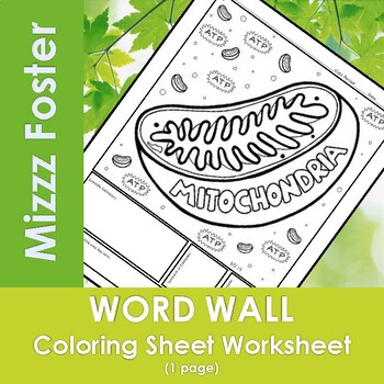 Mitochondria Word Wall Coloring Sheet
