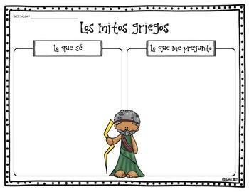 Mitología griega- hojas de trabajo (Greek Mythology Worksheets)