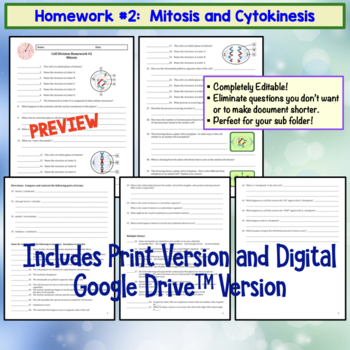 Mitosis and Meiosis and Cell Division  Set of 3 Homework Assignments