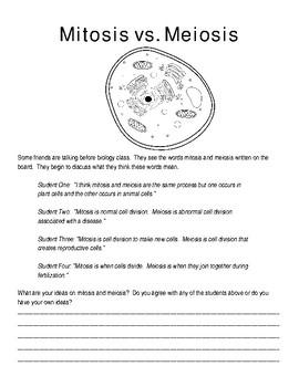 Mitosis & Meiosis Pre-Assessment Worksheet