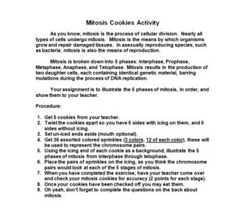 Mitosis PowerPoint, Notes, Cookie Activity, Flipbook, Review Worksheet