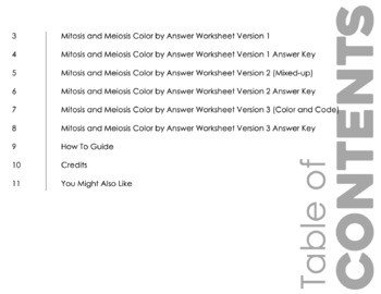 Mitosis VS Meiosis Color by Number Worksheet for Review or Assessment