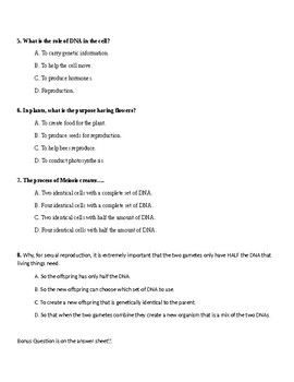 Mitosis and Meiosis 8 Question quiz