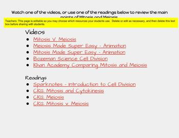 Mitosis and Meiosis Cell Division Review and Digital Sort Resource