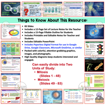 Mitosis and Meiosis (Cell Growth and Division) Powerpoint and Notes