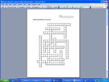 Mitosis and Meiosis Crossword Puzzle by Science from Murf ...