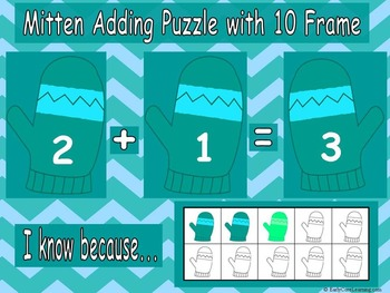Addition 10 Frame Mitten Puzzles (CCSS Kindergarten Math)