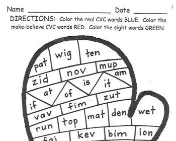 Mitten CVC Word and Sight Word Practice